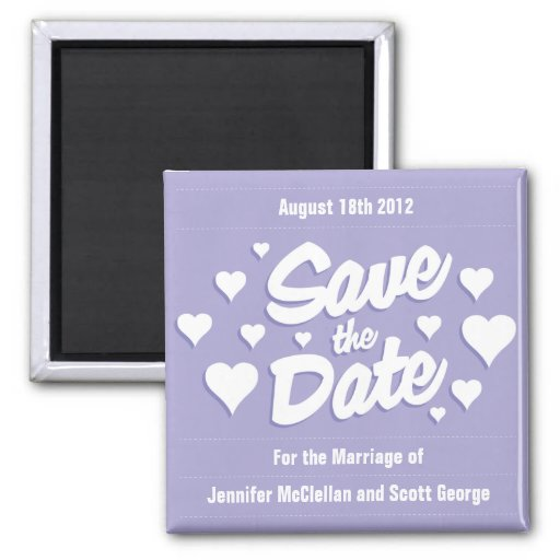 Lavender Save the Date Hearts Save the Date Magnet