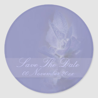 Lavender save the date wedding round stickers