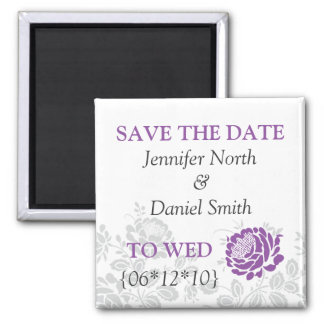 Lavender Save The Dates Square Magnet