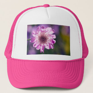 Lavender Scabiosa Flower Trucker Hat