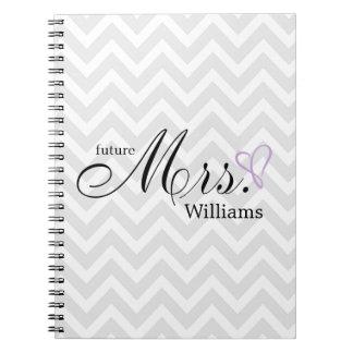 Lavender Scribbled Heart Future Mrs Wedding Spiral Notebooks