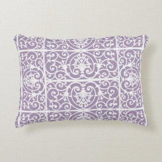 Lavender scrollwork pattern decorative cushion