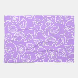 Lavender Seashell Art Pattern Kitchen Towel