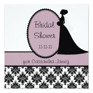 Lavender Silhouette Bride Bridal Shower Invitation