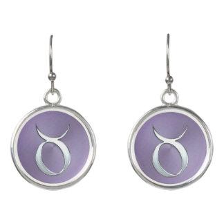 Lavender Silver Zodiac Sign Taurus Earrings