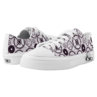 lavender Steampunk watch gear and damask pattern Printed Shoes