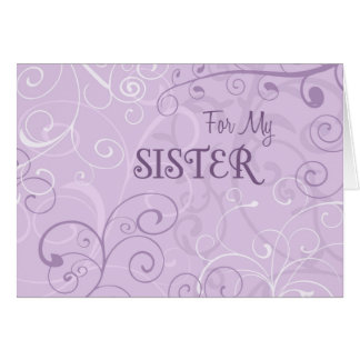 Lavender Swirl Sister Thank You Maid of Honor Card