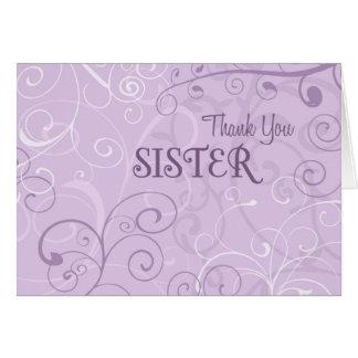 Lavender Swirls Sister Thank You Bridesmaid Card