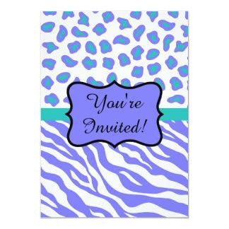 Lavender Teal Zebra Leopard Skin Invitation