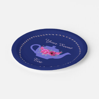 Lavender Teapot Pink Flowers Tea Party 7 Inch Paper Plate