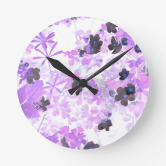Lavender Thimble Weed Round Clock