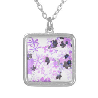 Lavender Thimble Weed Silver Plated Necklace