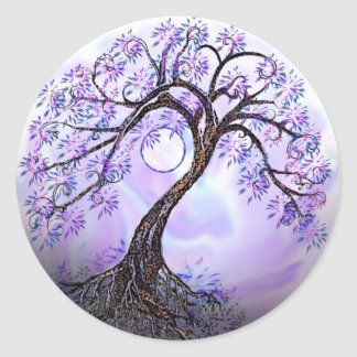 Lavender Tree of Life Rev 2. Round Sticker