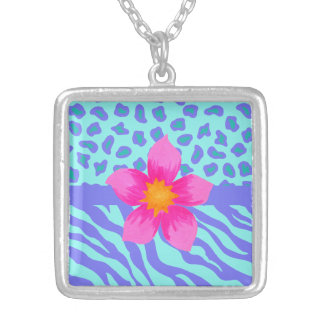 Lavender & Turquoise Zebra & Cheetah Pink Flower Square Pendant Necklace