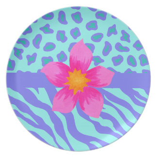 Lavender & Turquoise Zebra & Cheetah Pink Flower Party Plate