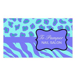 Lavender & Turquoise Zebra & Cheetah Skin Custom Pack Of Standard Business Cards