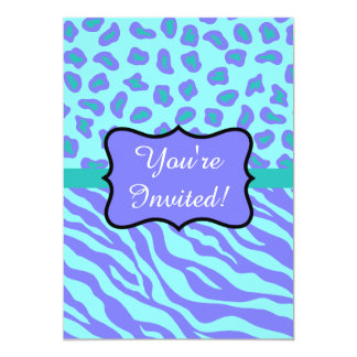 Lavender Turquoise Zebra Leopard Skin Invitation