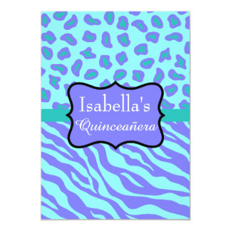 Lavender Turquoise Zebra Leopard Skin Quinceañera 13 Cm X 18 Cm Invitation Card