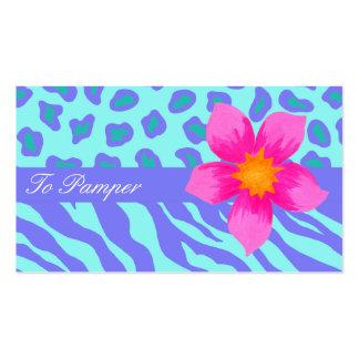 Lavender & Turquoise Zebra & Leopard Skin Stylish Pack Of Standard Business Cards