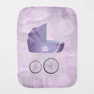 Lavender Vintage Baby Carriage Burp Cloth