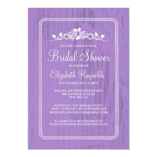 Lavender Vintage Barn Wood Bridal Shower Invites