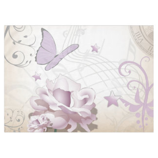 Lavender Vintage Flower, Butterfly, Music, Clocks Tablecloth