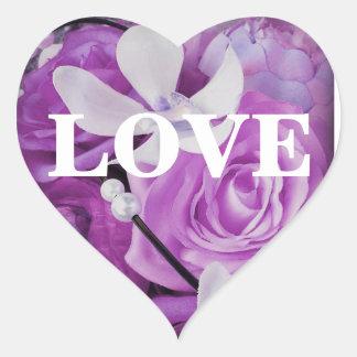 Lavender Violet Purple Floral LOVE Stickers Seals