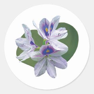 Lavender Water Lilies Round Stickers