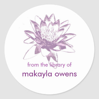 Lavender Water Lily Bookplates Sticker