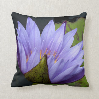 Lavender Water Lily Throw Pillow