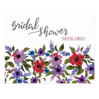 Lavender  Watercolor Floral Bridal Shower Advice Postcard