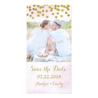 Lavender Watercolor Gold Confetti Save the Date Photo Card Template
