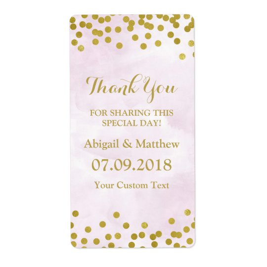 Lavender Watercolor Gold Confetti Wedding Labels