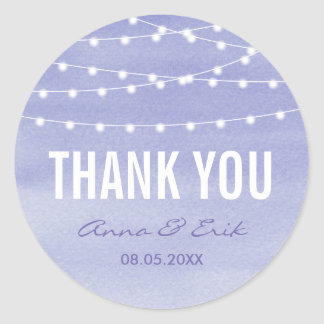 Lavender Watercolor String Lights Thank You Round Sticker