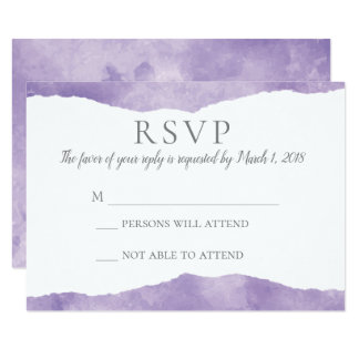 Lavender Watercolor Wedding Invitation RSVP