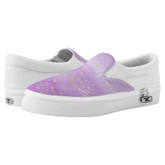 Lavender Watercolor with Gold Stars Slip-On Shoes