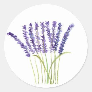 Lavender watercolour painting, purple flowers round sticker