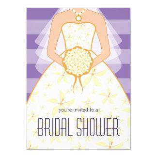 Lavender Wedding Dress Modern Bridal Shower Invite
