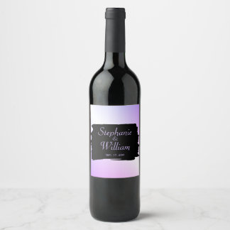 Lavender Wedding Names and Date Wine Label
