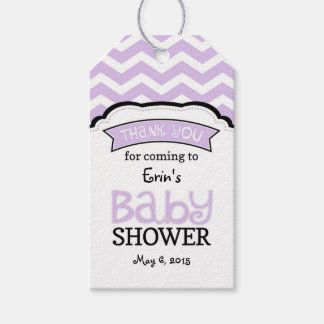 Lavender White Chevron Baby Shower Thank Tags