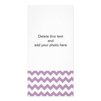 Lavender White Chevron Pattern Customized Photo Card