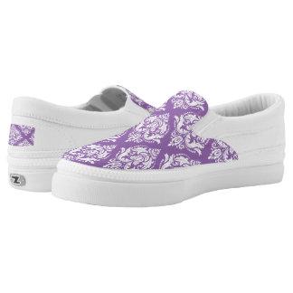 Lavender & White Floral Damasks Pattern Slip-On Shoes