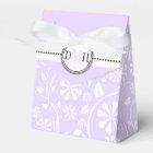 Lavender, white floral pattern custom wedding favour box