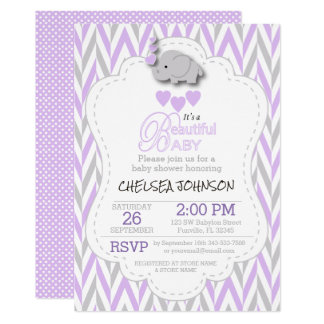 Lavender, White & Gray Elephant Baby Shower Card