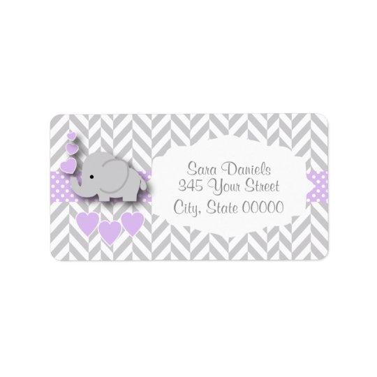 Lavender, White Grey Elephant Baby Shower Label