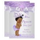 Lavender White Lilac Princess Baby Shower Ethnic Invitation