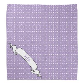 Lavender White Polka Dot Pattern Banner Pet Name Bandanna