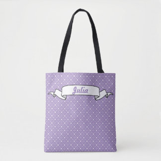 Lavender White Polka Dots Celestial Rose Floral Tote Bag