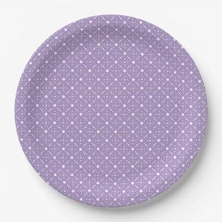 Lavender White Polka Dots Celestial Sky Pattern 9 Inch Paper Plate
