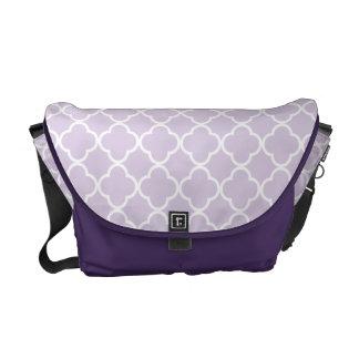 Lavender White Quatrefoil 4 Petals Messenger Bag